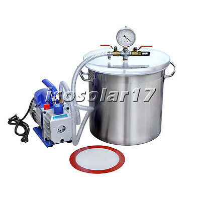110V  5 Gallons Stainless Steel 1/3HP 3CFM Vacuum Pump Degassing Silicone Kit