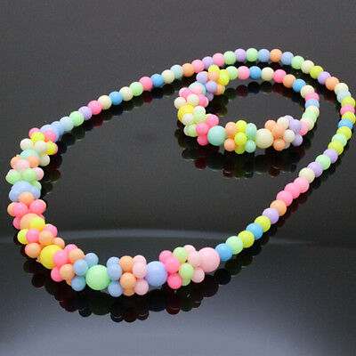 2017 Cute Stylish Jewelry Fashion Necklace&Bracelet Set Baby Girls Candy Colors