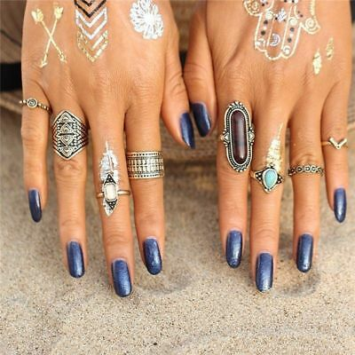 Women Charm Bohemia Retro Nature Turquoise Rings 8pcs/ Set Metal Jewelry Gift