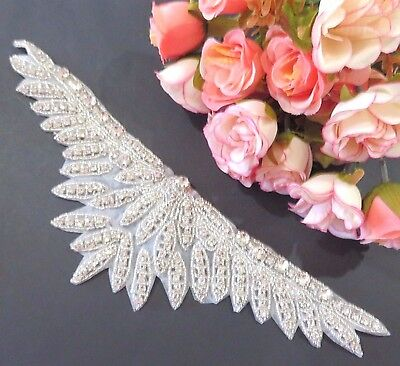Silver Diamante Beaded Motif Applique Bridal Dance Tutu  Lace Trim 1SR15B