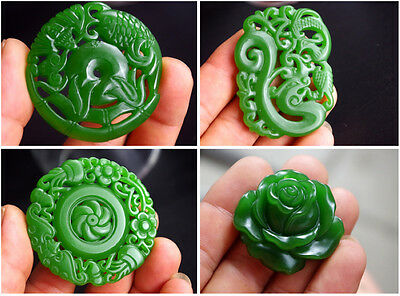 Exquisite Chinese natural green nephrite soft jade hand carved gem jade pendants