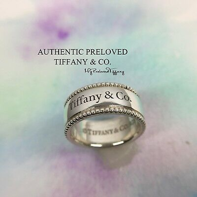 19c9620ad Excellent Authentic Tiffany & Co Beaded Edge Tiffany Yours Logo Ring Silver  #5