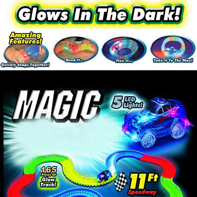 Childen Toys Magic Tracks Light up LED Bend 1 Set  Racetrack Race Car Glow