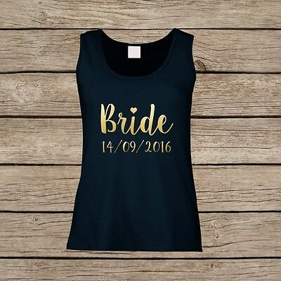 Personalised Wedding Vest Tops for Bride / Bridesmaid / Maid of Honour / Bridal