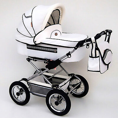 Classic Pram 10 Stroller Pushchair for Baby 2 in 1 Travel System Pumped Wheels