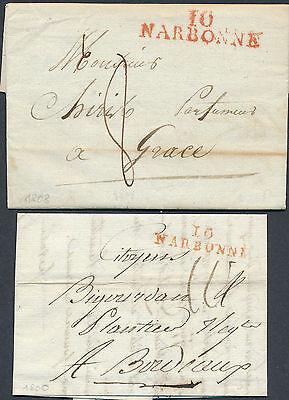 "1860/8 FRANCE Two prestamp folded letters  red ""10/ NARBONNE"" (diverse pmks)"