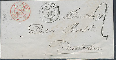 "1850 FRANCE Prestamp ST.CROIX  red border ""SUISSE/ JOUGNE Dontarlier Taxed"