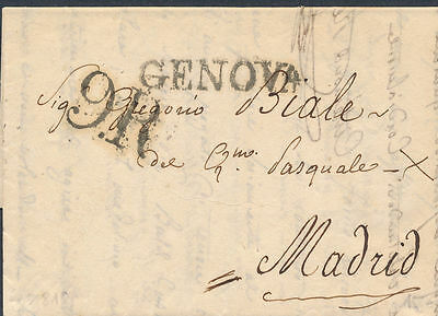 "1819 ITALY GENOVA Prestamp  to Madrid, Spain. Black Tax hds ""9R"