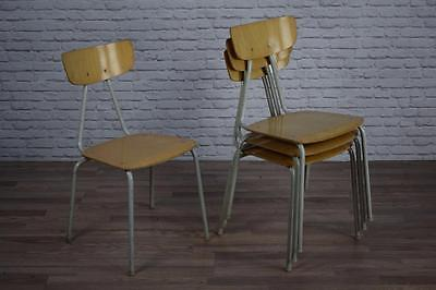 Set Of 4 Vintage Industrial Stackable Cafe Bar Kitchen Chairs