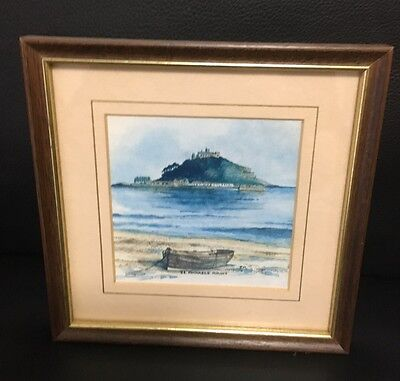 Vintage Framed Oil Painting Landscape With Ocean Shipwreck Unique Small