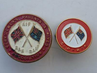 2 X Ww2 Anzac Lapel Badge - Large & Small - Servicemen's Parents And Wives Assoc