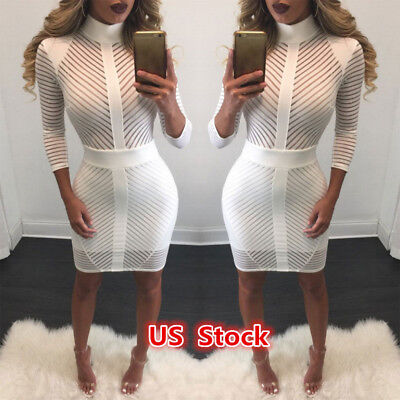 White Women Bodycon Bandage Evening Cocktail Party Long Sleeve Pencil Mini Dress