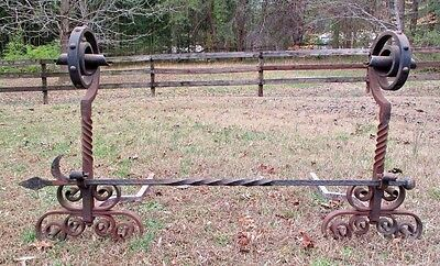 Large Antique Hand Wrought Iron Andirons