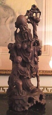 Vintage Chinese Hand Carved Wood Statue Of Shouxing The God Of Longevity