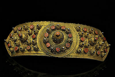 Antique Original Perfect Gold Plated Coral Filigree Belt Buckle