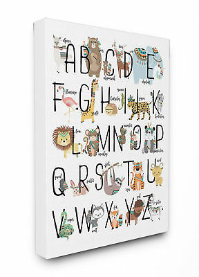 Stupell Industries Boho Animal ABCs Canvas Art
