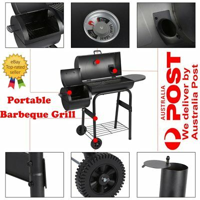 2in1 Charcoal Smoker BBQ Grill Roaster Portable Steel Steamer Charcoal Oven ME