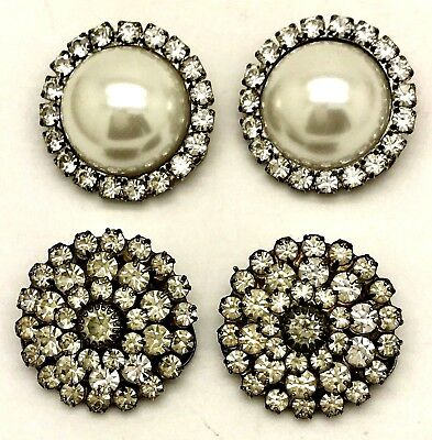 Vintage Lot Musi Faux Pearl Glass Rhinestone Dress Shoe Clips Made USA 2 Pairs