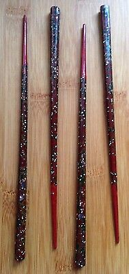 Japanese Mother Of Pearl / Abalone Inlaid Chopsticks Vintage Set of 4