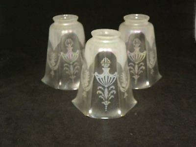 3 Old Iridescent Etched Ceiling Light Fixture Shades