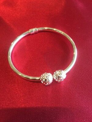 silver opening bangle with 2 silver ball ends new for 2017 Handmade Stunning