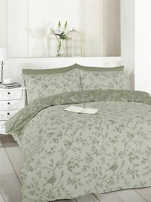 French Bird & Flowers Floral Toile White & Grey King Duvet Cover Set