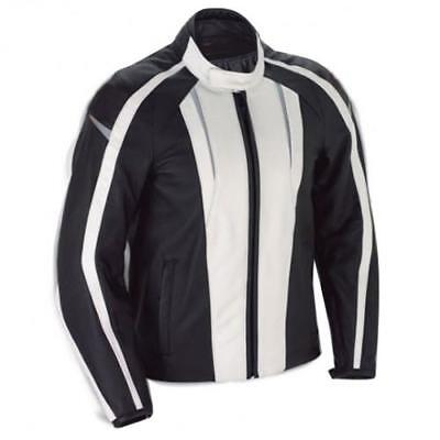 Womens Sports White Striped Motorcycle Jacket with Protectors in As Shown