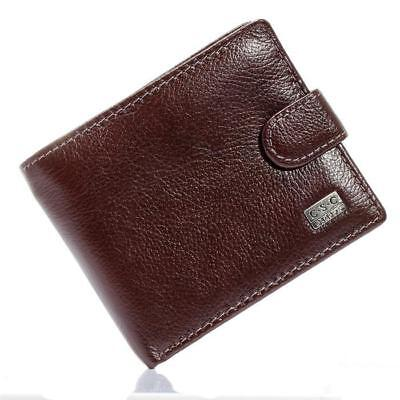 Brown Coffee Soft Real Genuine Cowhide Leather Bifold Wallet Men Wallets Coin...