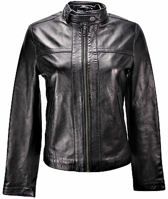 CLEARANCE - Women's Classic Black Straight Trendy Leather Jacket