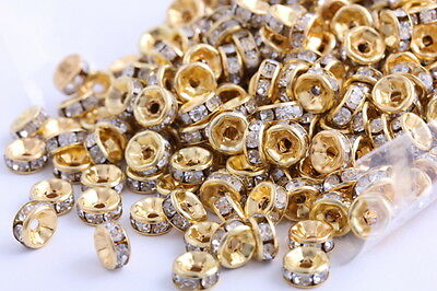 200 Pcs Gold Plated Crystal Spacers Rondelle Bead Jewelry Findings 6mm