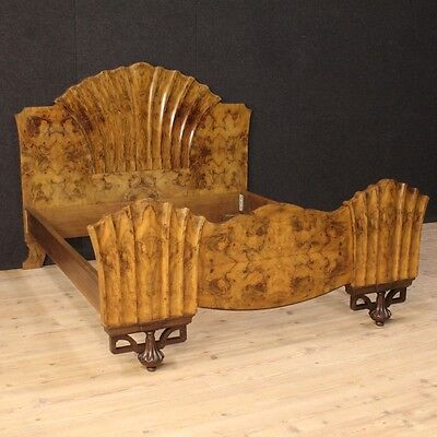 Fabulous Bed Italian Style Art Deco Briar Walnut Italy Period '900 Bed Lit