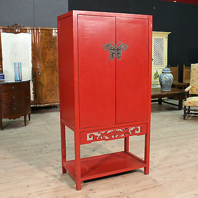 CLOSET CHINESE TWO PANELS PAINTED RED DRAWERS PERIOD TWENTIETH CENTURY H 180 cm