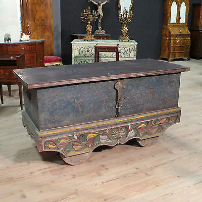 SCENOGRAPHIC TRUNK DOUBLE BED INDIAN WOOD PAINT PAINTED FIRST '900 L161cm