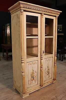Showcase Closet Wood Painted Decorations Floral Eastern Europe Period '900 H 179