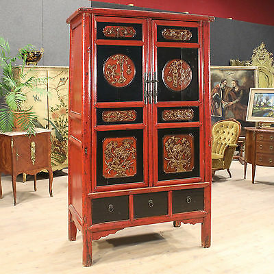 Closet wardrobe armoire wood painted lacquered chinese furniture antique XX 900