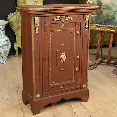 Closet Pantry Italian Wood Painted Brass Golden Period '900 Cabinet Armoire