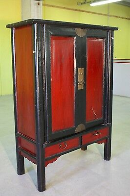 Closet chinese furniture wooden lacquered cabinet with 2 panels antique style