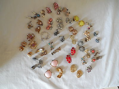 Large lot group of 37 clip on, screw back earrings, Vintage & pre owned pieces
