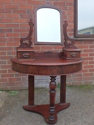Victorian antique solid beech & mahogany demi lune Duchess mirror dressing table