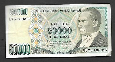Turkey 50,000 Turkish Lirasi Circulated Banknotes