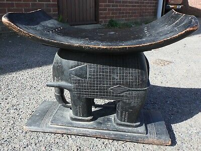 19th century antique African Ashanti tribal carved elephant marriage footstool