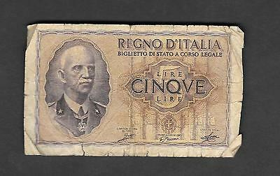 Italy 5 Lire 1939 Circulated Banknote