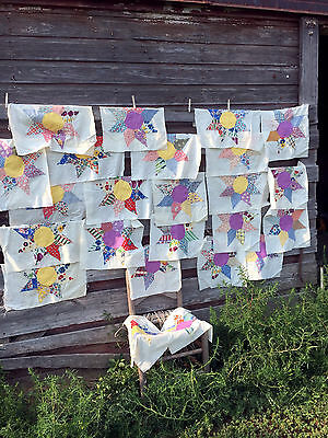 Antique LOT FeedSack Feed Sack Quilt Blocks Star Pattern Total of 24 Blocks