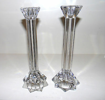 """Pair Of Crystal Glass Taper Candle Stick Holders 9 1/2"""" High"""