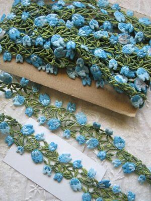 Vintage Usa Aqua Blue, Light Blue And Green Cotton Applique Trim  2 Yards