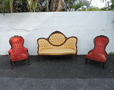 Late 1880s Victorian Hand Carved Cameo Sofa and Pair of His and Hers Chairs 8456