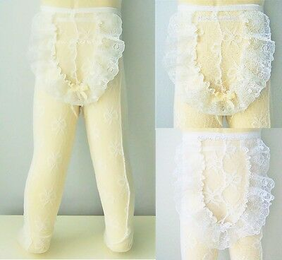 Baby Girls Frilly Lace Back Special Occasion Christening Lace Tights WHITE IVORY