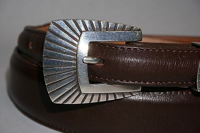 "James Reid Ltd Sterling Four Piece .925 Ranger Buckle Set 38"" Brown Leather Belt"