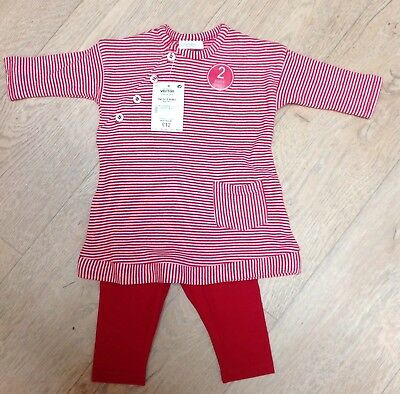 Baby Girls NEXT 2 Piece Set Leggings & Tunic Dress Top 0-3 Months Red Stripe NEW