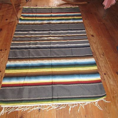 "Vintage Mexican Serape,rainbow Colors,excellent,never Used,large 50""x85"""